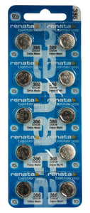 Renata 386 45mAh 1.55V Silver Oxide Coin Cell Battery - Watchbatteries