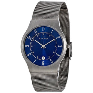 Skagen Mens 233XLTTN Titanium Blue Dial Watch - Watchbatteries