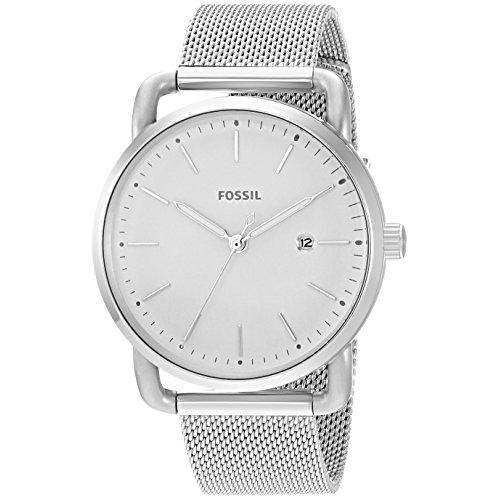 Fossil Womens ES4331 The Commuter White Dial Stainless Steel Mesh Watch - Watchbatteries