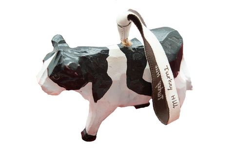 Turkey Hill Hand Carved Wooden Cow Ornament