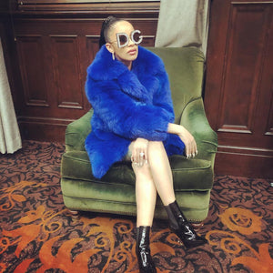 Cardi B Fur Coat Blue Faux Fur Coat