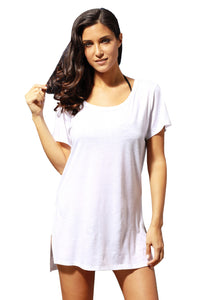 White Cozy Short Sleeves T-shirt Cover-up