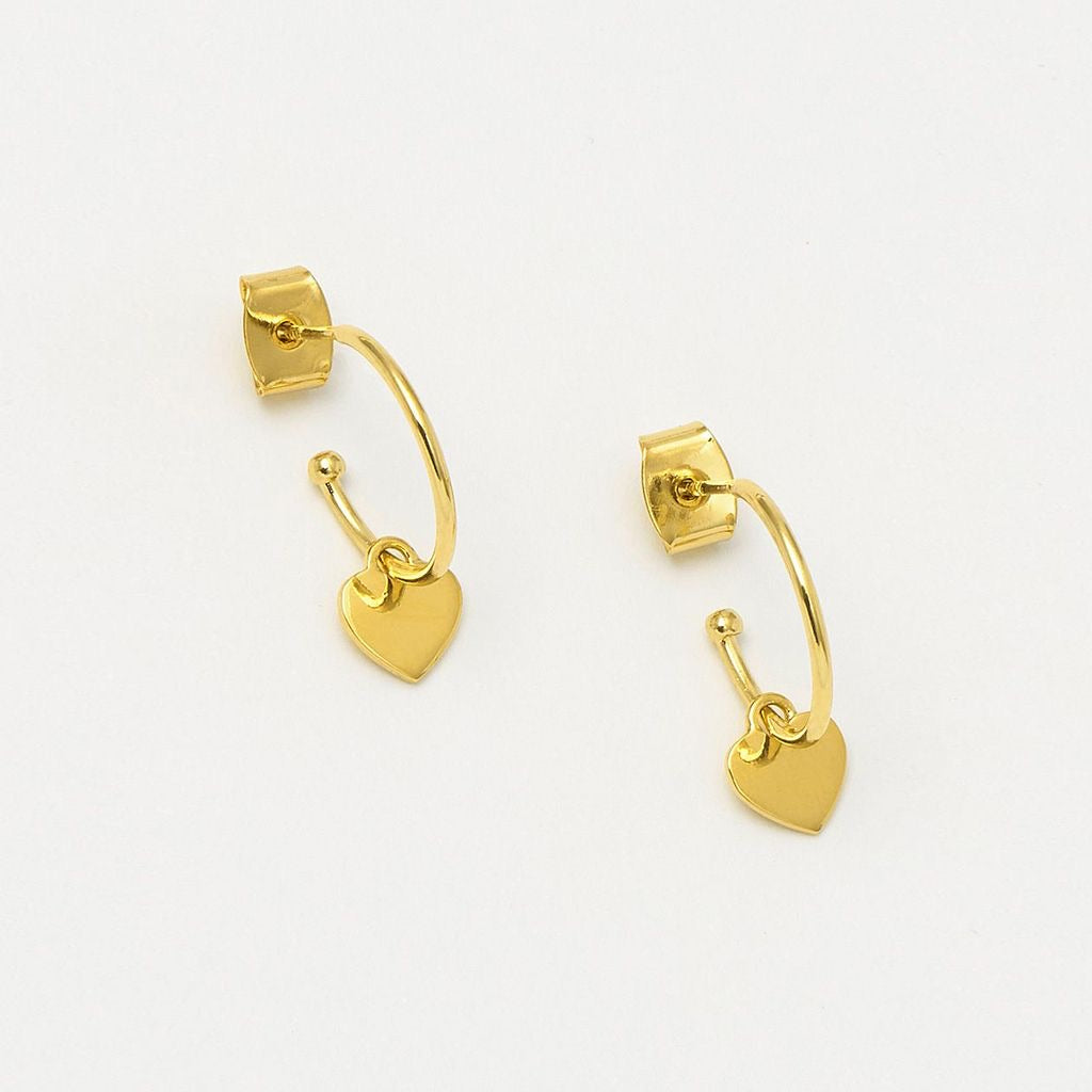 Gold Heart hoop earrings
