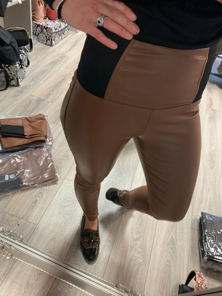 Naumy Tan coated trousers/jegging