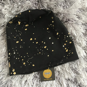Gold Paint Splatter Baby Beanie