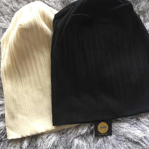 Pinstripe Ribbed Beanies