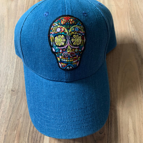 Denim skull cap