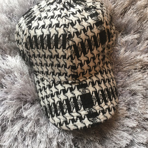 Tweed Houndstooth Cap