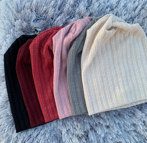 Thin Ribbed Sweater Beanie