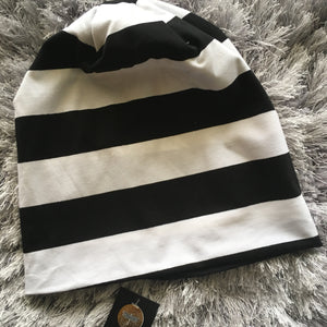 B&W Stripe Cotton Beanie