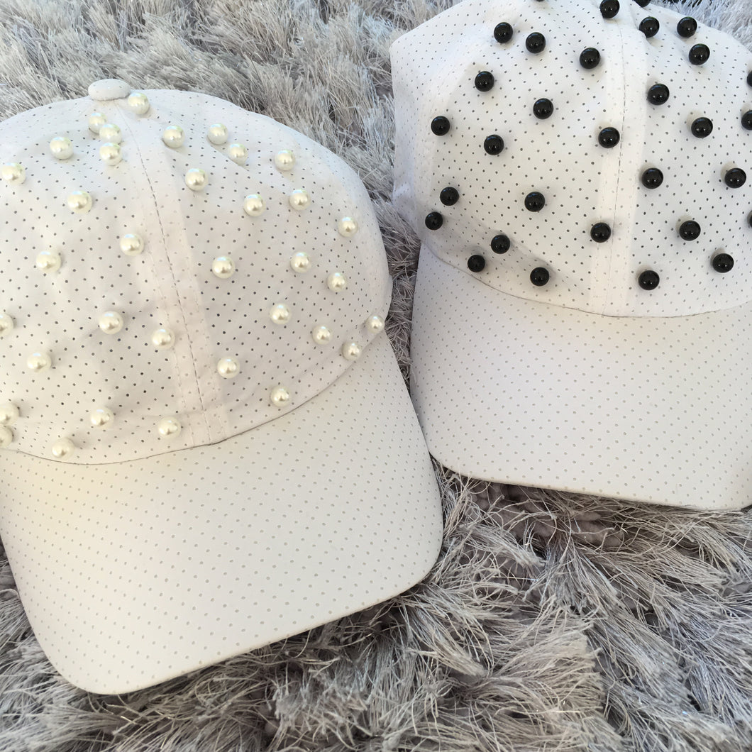 White Full Pearl Dry Fit Cap