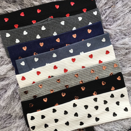 Thin Width Heart Stud Band *NEW COLORS*