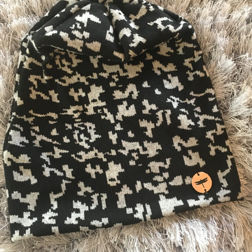 Abstract Animal Print Sweater Beanie