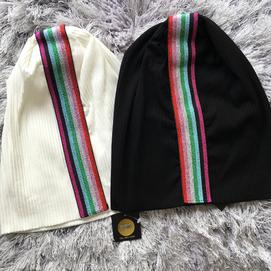 Candy Stripe Ribbon Beanie