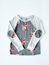 Girls Raglan Long Sleeve Top with Floral Elbow Patch