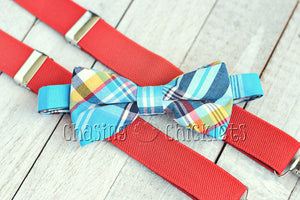 Poppin' Plaid Bow-Ties : Cool Blue