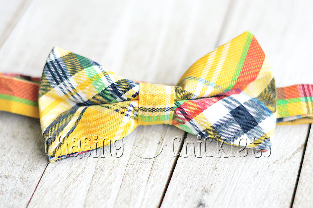 Poppin' Plaid Bow-Ties : Blazin' Yellow