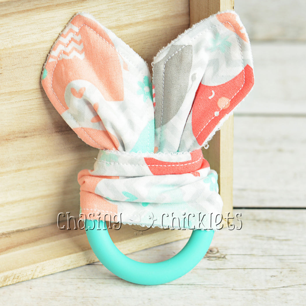 Coral Chevron Elephant Teether
