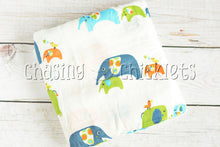 Blue Elephant Parade Muslin Swaddle