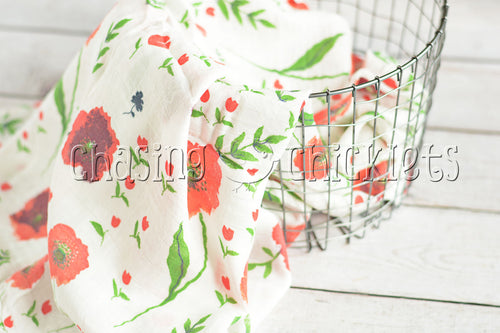 Red Poppies Muslin Swaddle