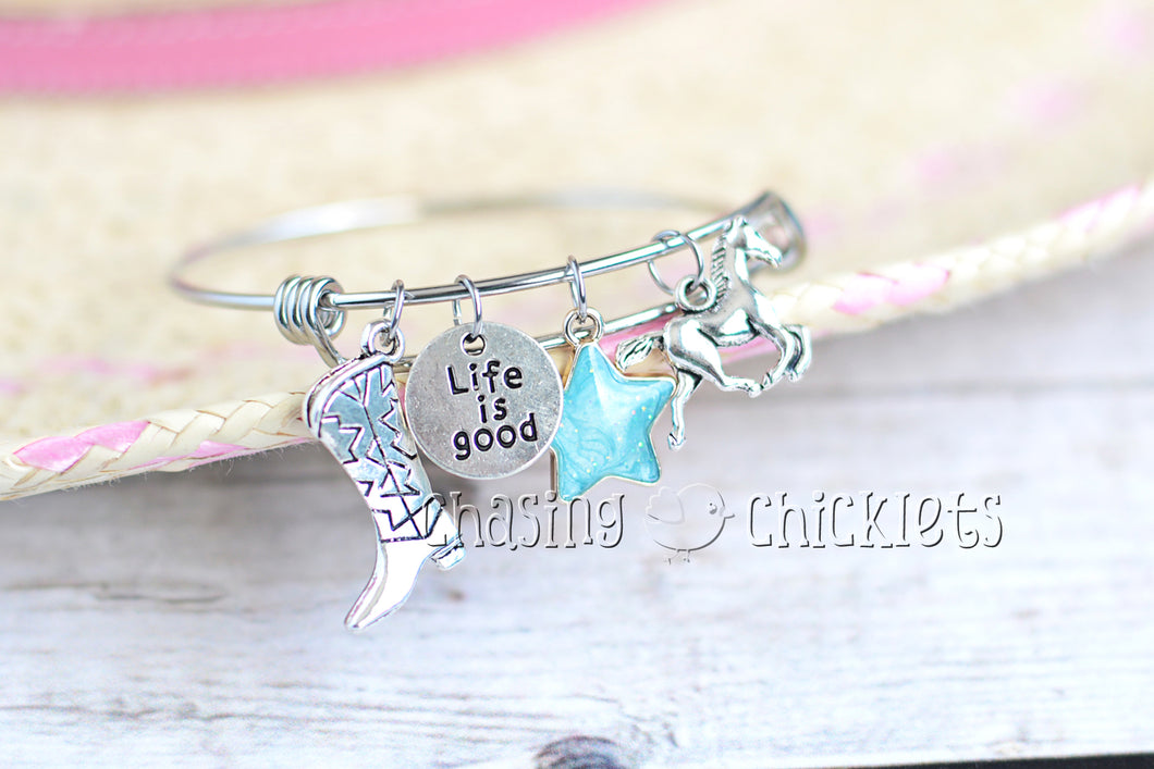 Life is Good Charm Bangle or Necklace
