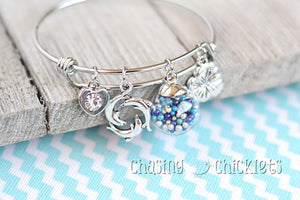 Swimming with Dolphins Charm Bangle