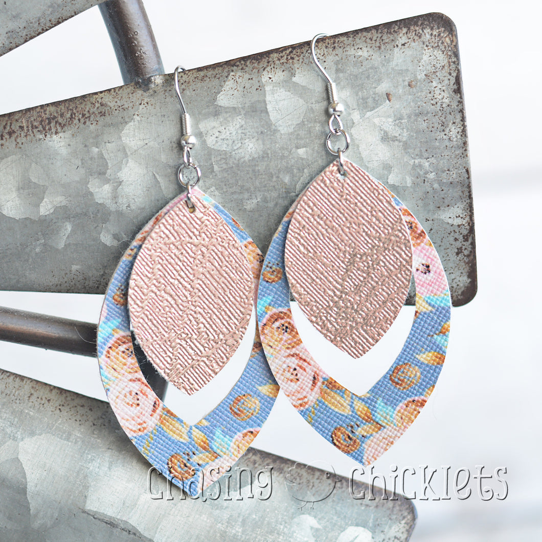 Rose Gold & Floral Earrings