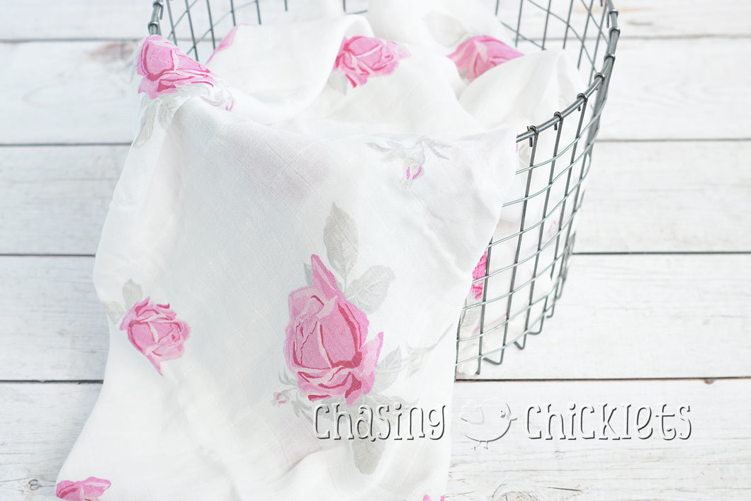 Pink Roses Muslin Swaddle