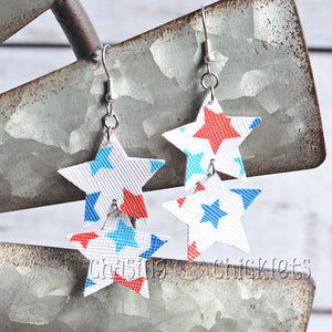 4th of July Earrings - Double Layer Stars