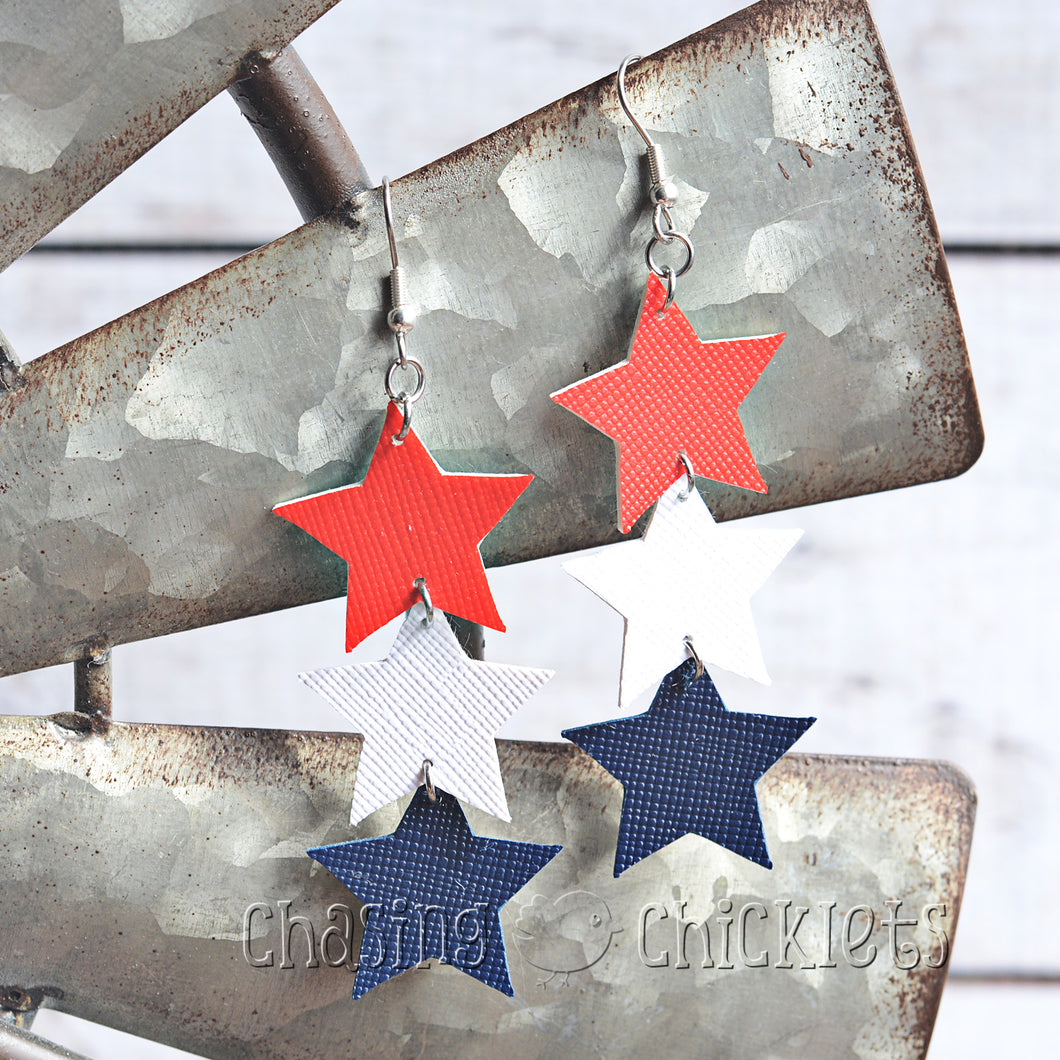 4th of July Earrings - Triple Layer Stars