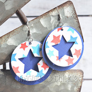 4th of July Earrings - Round Cut-Out