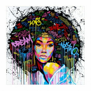 HD PRINT Poster Wall Art Abstract Modern African Women Portrait Canvas Oil Painting On Canvas Graffiti Street For Living Room - Home Harmony