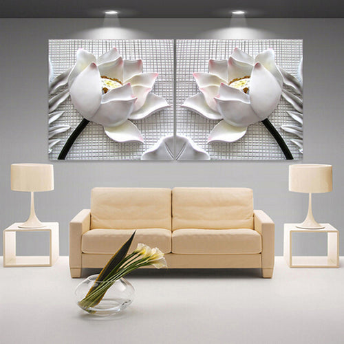Modern 3D White Lotus (No Frame) - Home Harmony