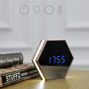 Multi-function Hexagonal Mirror Digital Alarm Clock Thermometer Touch LED Night Light