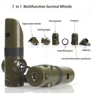 7 in1 LED Light Emergency Survival Gear Whistle Compass Thermometer Outdoor Camping Hiking Safety Tools