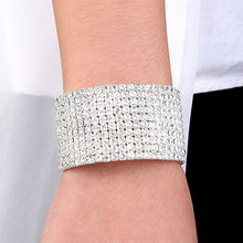 Wedding Bridal Jewelry 10 Row Cuff CZ Rhinestone Crystal Stretch Strand Bracelet Bangle Dropshipping