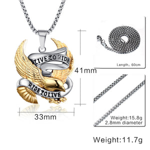 Vnox Eagle Necklace Pendant for Men Stainless Steel Metal LIVE TO RIDE Punk Jewelry