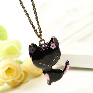 SOHOT  2016 New Fashion Cute Animal Black Cat Pendant Necklace Cat Jewelry for Women Gift
