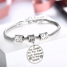 Bespmosp No Longer By My Side But Forever In My Heart Dog Pet Paw Footprint Bracelet Bangle Family Girls Women Men Jewelry Gifts