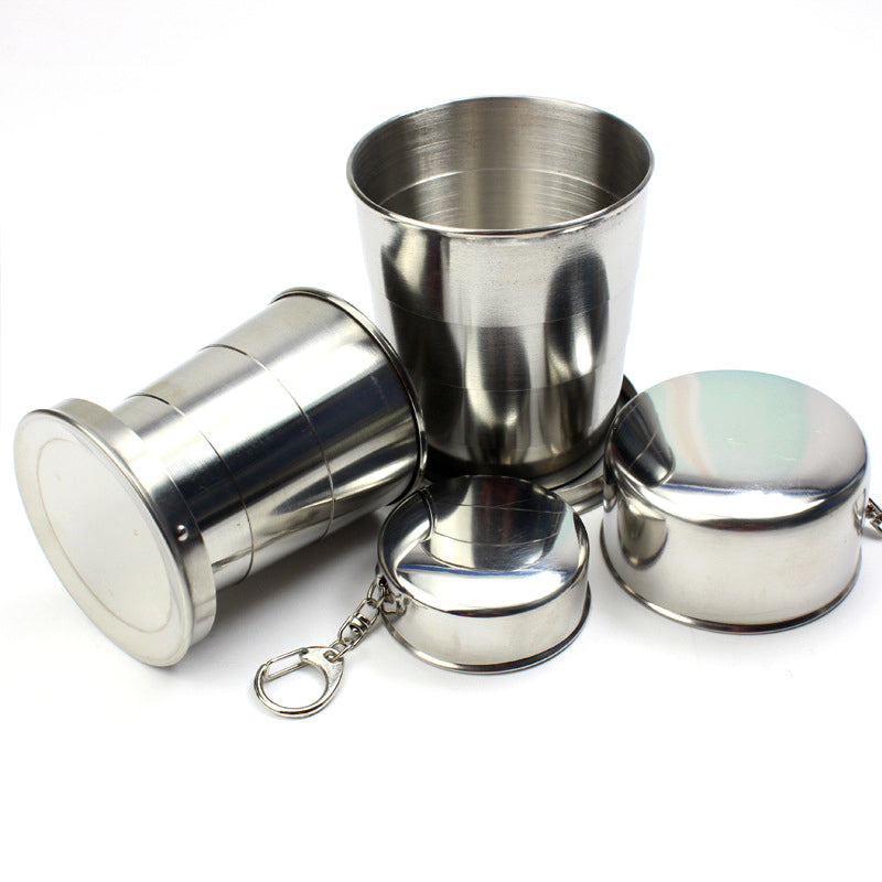 Ourpgon  Stainless Steel Folding Cup Travel Tool Kit Survival EDC Gear Outdoor Sports Mug Portable for Camping Hiking Lighter