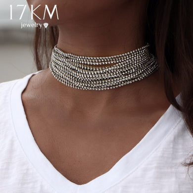 17KM Multiple layers Rhinestone Crystal Choker Necklace for Women New Bijoux Maxi Statement Necklaces Collier Fashion Jewelry