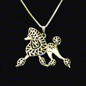 Lovely Poodle dog pendant necklaces for women girls friends silver/gold color long chain female necklaces pendants jewelry