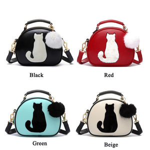 Beibaobao 2018 Cartoon Women Leather Handbag Cat Pattern Fur Ball Design Tote Women Bag Bolsa Circular Women Messenger Bags B001
