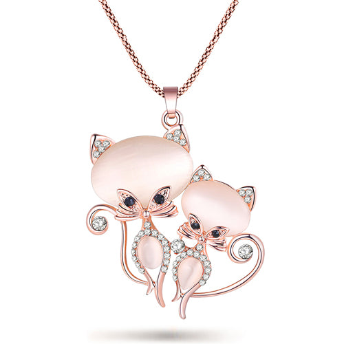 Bonsny Cat Necklace Long Pendant  Brand Crystal Chain New 2015 Zinc Alloy Girl Women Fashion Jewelry Statement Accessories