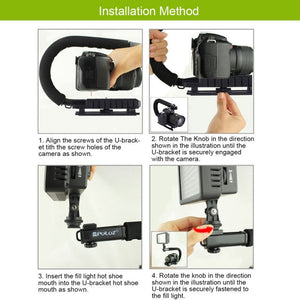 PULUZ U-shaped Grip Triple Shoe Mount For Canon For Sony DSLR Camera Video Action Stabilizing Handle Grip Rig Camera Accessory