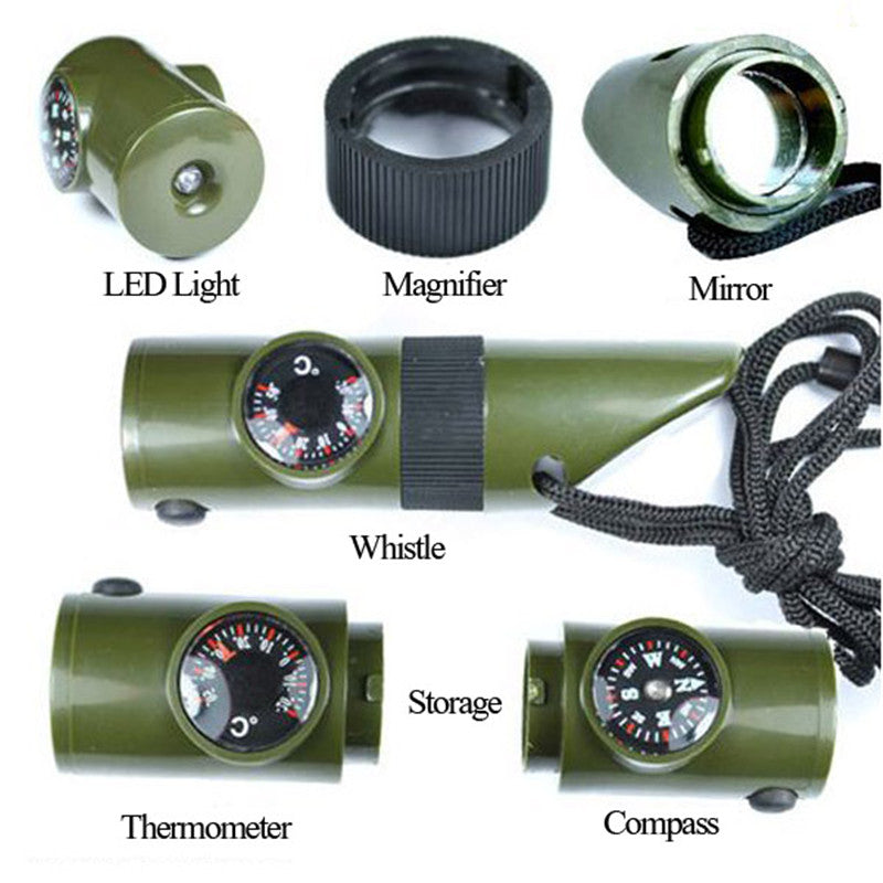 Survival Kit Military Outdoor  7in1 Multifunction Emergency  Gear Whistle Magniffer  LED Flashlight Camping Outerdoor Tools