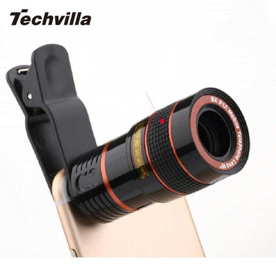 techvilla Universal 8X Zoom Telescope Lens Magnifier Clip On Binocular Photography for Cellphone SmartPhone Black