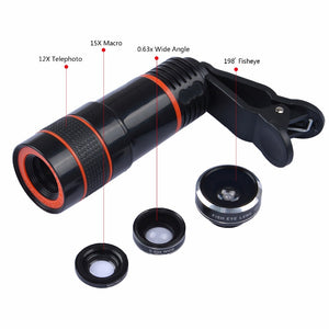 APEXEL 6IN1 Phone Camera lenses Kit 12X Telephoto Zoom Lentes+Tripod Clips+Wide Angle Macro Fisheye lens For Cell Phone iPhone