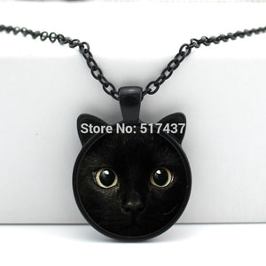 CN-00327 New hot New Black Cat Pendant Cat Face Necklace Cat Ear Jewelry Girls Glass Cabochon Necklace