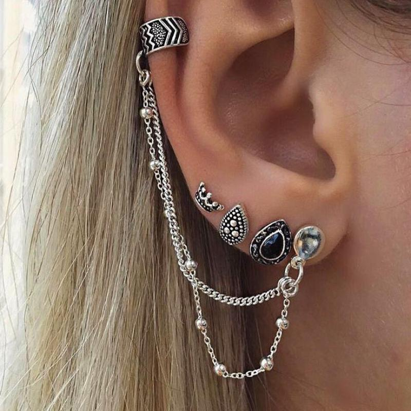 4 Pcs/set Women Cool Rock Punk Clip Earrings Oorbellen Simple Retro Silver Earring Ear Cuff Wrap Earcuffs Vintage Boho Jewelry
